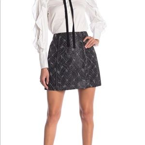 BCBGMAXAZRIA - Faux Leather Trim Pencil Skirt